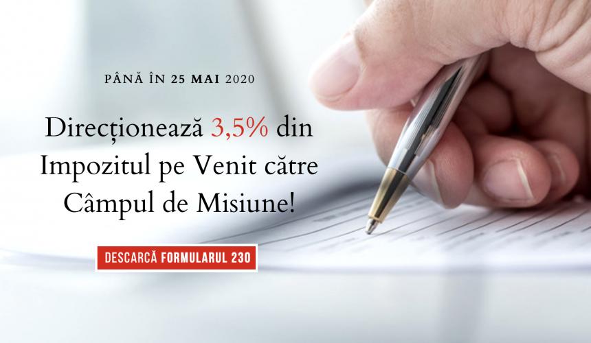 ULTIMA STRIGARE – 3,5% din Impozitul pe Venit pentru Câmpul de Misiune